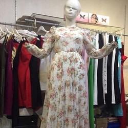 Đầm maxi dài tay voan họa tiết hoa xinh đẹp trẻ trung DDH215