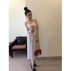 Đầm Maxi 2 Dây Bi Hồng Dễ Thương Như Ngọc Trinh 2721