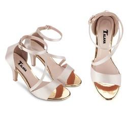 giày cao gót màu bạc xuất khẩu