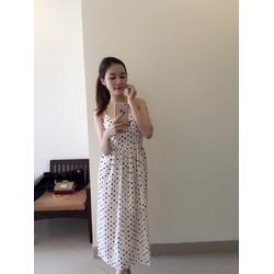 Đầm Maxi 2 Dây Bi Vàng Dễ Thương - 2721V