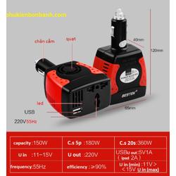 Bộ nghịch lưu inverter 12V-220V cho ô tô ,5v 2ah
