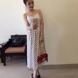 Đầm Maxi 2 Dây Bi Hồng Dễ Thương