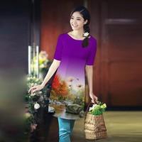 áo dài cách tân in hoa 3d nền tím