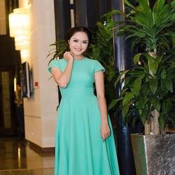 Đầm xòe xanh nổi bật thiết kế đơn giản xinh đẹp DXV198