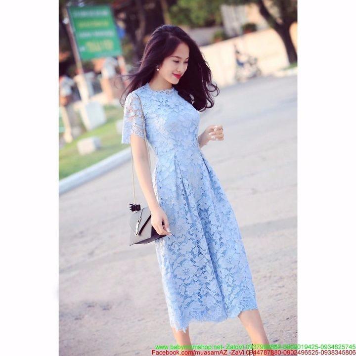 Đầm xòe dạ tiệc xòe dài tay ren hoa xanh trẻ trung DXV203 1