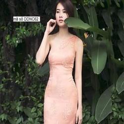 Đầm ôm lệch vai hồng dễ thương chất liệu ren nổi cao cấp DOV637