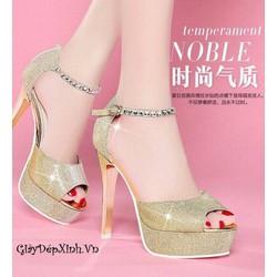 Giày cao gót hở mũi ánh kim sang trọng
