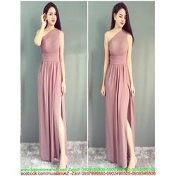 Đầm maxi xẻ đùi và kiểu lệch vai sành điệu xinh đẹp DDH319