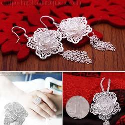 Bộ trang sức mạ bạc cao cấp -mặt dây chuyền, bông tai, nhẫn