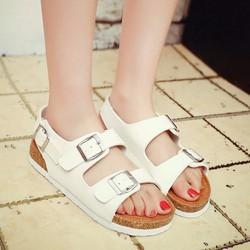 Giày Sandal nữ quai ngang màu trắng dễ thương - SG0148