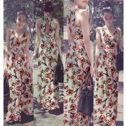 Đầm Maxi 2 Dây Hoa Văn Khoét Lưng Xinh Như Ngọc Trinh - D2732