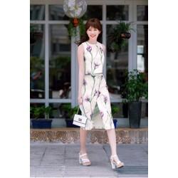 Bô set áo và chân váy họa tiết in hoa