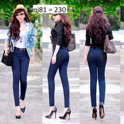 Quần jean lưng cao 1 nút 2 túi đen giống bella QJ81