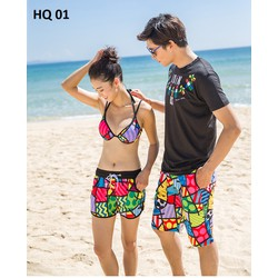 SET đồ đôi đi biển gồm : 1 bộ bikini,1 quần đùi nữ và 1 quần đùi Nam.
