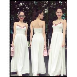 Đầm Maxi 2 Dây Viền Màu Xinh Như Ngọc Trinh - d2711