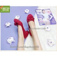 Giày gót vuông nơ viền sắt