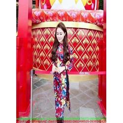 Sét áo dài cách tân họa tiết hoa loang màu nổi bật SQV134