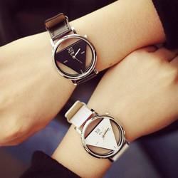 Đồng hồ cặp đôi tam giác trong suốt, giá 1 đôi,da cực đẹp