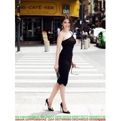 Đầm body lệch vai đen sang trọng và quyến rũ DOV685
