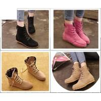 Giày Boot nữ - giày bốt nữ trơn da lộn