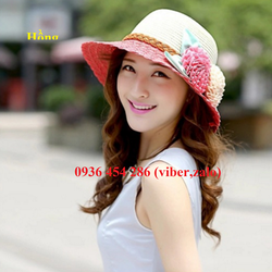 nón cói, mũ cói gắn hoa đôi phong cách Hàn , nón cói vành, nón cói mềm