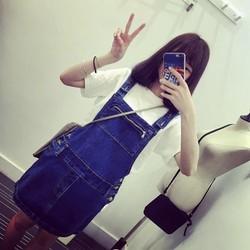 QC1682 Hàng nhập Yếm jean ôm dáng phong cách trẻ trung 2016
