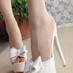 Giày cao gót hở mũi và sau đính nơ xinh đẹp GCN193