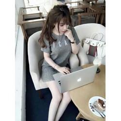 Đầm suông tay con thêu chữ ICan siu đẹp- Quảng Châu
