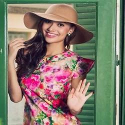 Đầm suông cổ sen họa tiết hoa loang nổi bật DSV170