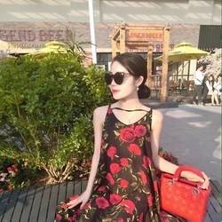 Đầm suông sát nách 2 dây họa tiết hoa hồng xinh đẹp dễ thương DSV163