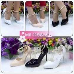 Giày nữ, thiết kế đính ngọc, chất liệu vải phối da PU êm chân vg221