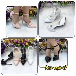 Giày nữ, thiết kế cao gót đính ngọc , chất liệu da PU êm chân.vg224