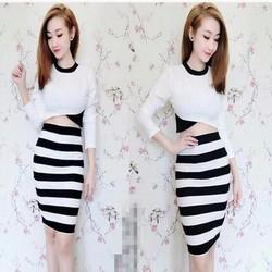 Sét áo kiểu dài tay phối màu và chân váy bút chì sọc cá tính SEV343