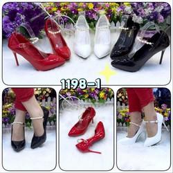 Giày nữ cao cấp, Chất liệu da tổng hợp, si bóng, gót nhọn 9 phân.vg200