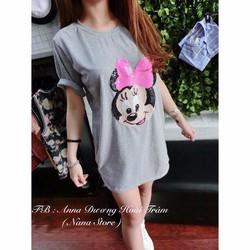 Đầm suông Chuột Mickey đính kim sa
