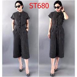 ST680 Set áo sọc trắng đen cổ trụ quần suông BN