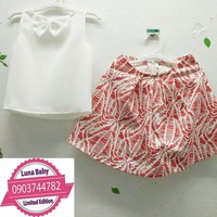 Set áo váy XUÂN TƯƠI cho bé gái_đủ size 3-8 tuổi