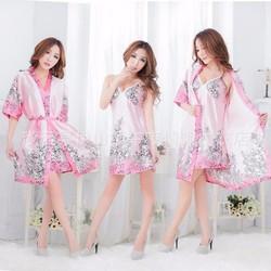 Váy ngủ kèm áo khoác chiffon họa tiết cao cấp