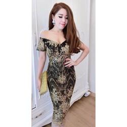 Đầm Dạ Hội Nhũ Kim Sa Sang Trọng