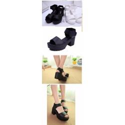 Giày sandals chunky quai ngang dây dán