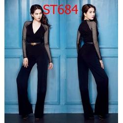 ST684 Set áo tay dài phối lưới quần dài Ngọc trinh Ko kèm belt