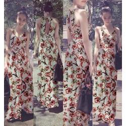 Đầm Maxi 2 Dây Hoa Văn Khoét Lưng Xinh Như Ngọc Trinh