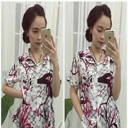 Đồ bộ mặc nhà pyjama short hình họa tiết cây khô carô DBTn451