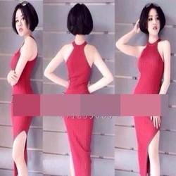 Đầm body cổ yếm vải xếp ly và xẻ đùi quyến rũ xinh đẹp DOV700
