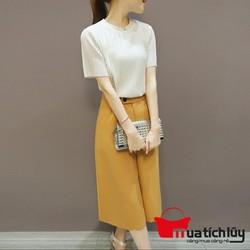 MTL - Set trang phục cao cấp: Áo xếp ly + Quần cullotes