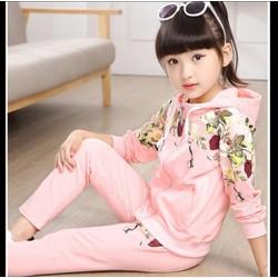 Bộ thể thao áo và quần cotton bé gái V245