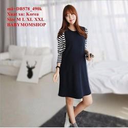 Đầm bầu Hàn Quốc tay dài phối sọc trẻ trung sành điệu zzDB578