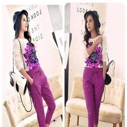 Sét áo dài tay họa tiết hoa tím và quần lửng ôm dáng đẹp SQV150