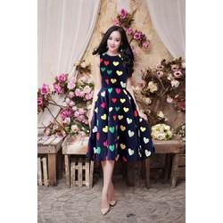 Đầm Xòe Vintage Trái Tim Giống Helen