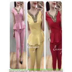 Sét áo peplum phối viền kim sa và quần dài ôm sành điệu SQV156
